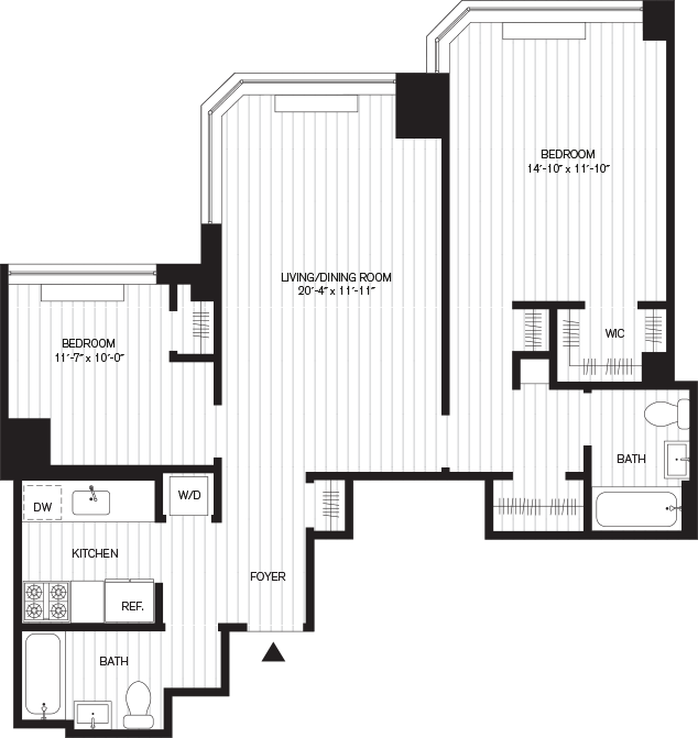 Learn more about Residence G, Floors 9-29 (2br)